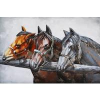 3D schilderij metaal 80x120cm  3 Paarden
