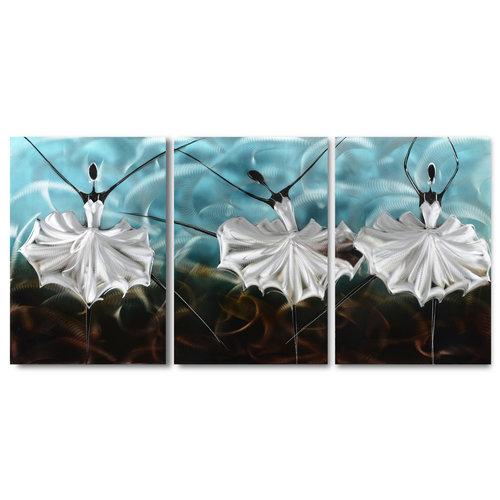 Schilderij aluminium  drieluik Ballerina  blank 60x120cm