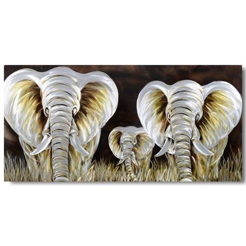 Schilderij aluminium  Olifanten  100x240cm