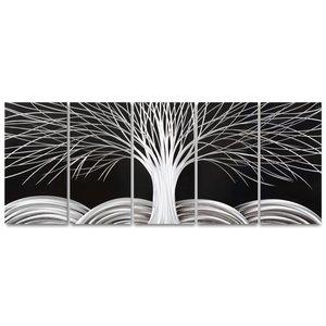 Schilderij aluminium  vijfluik   Boom 60x150cm
