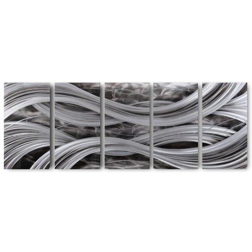 Schilderij aluminium  vijfluik   Golven 60x150cm