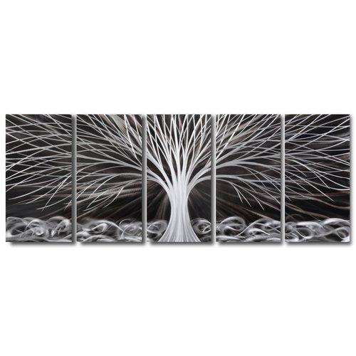 Schilderij aluminium  vijfluik   Fantasie boom 60x150cm