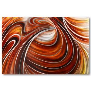 Schilderij abstract aluminium Rode lijnen 80x120cm