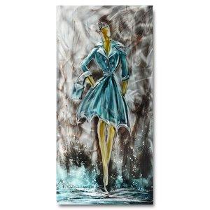 Schilderij aluminium  Vrouw in blauw  60x120cm