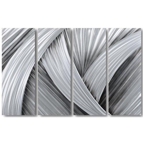 Schilderij abstract aluminium Zwart/grijs 80x120cm