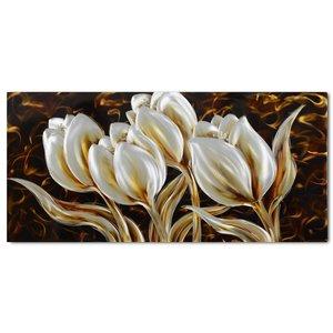 Schilderij aluminium  Tulpen  60x120cm