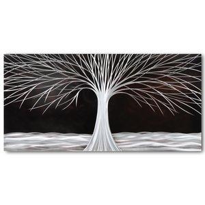 Schilderij aluminium  Boom in de nacht  60x120cm