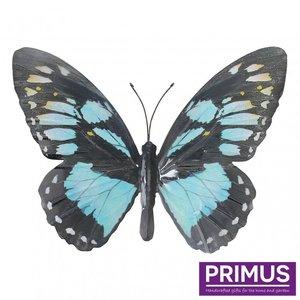 Metalen licht blauwe vlinder