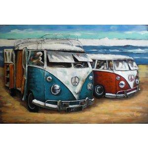 Eliassen 3d schilderij metaal VW bussen  80x120cm