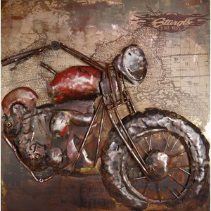 Eliassen 3D schilderij Motor rood 100x100cm