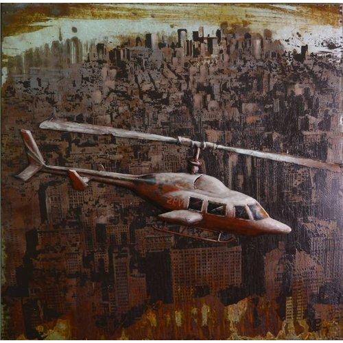 Eliassen 3D schilderij 80x80cm Helicopter