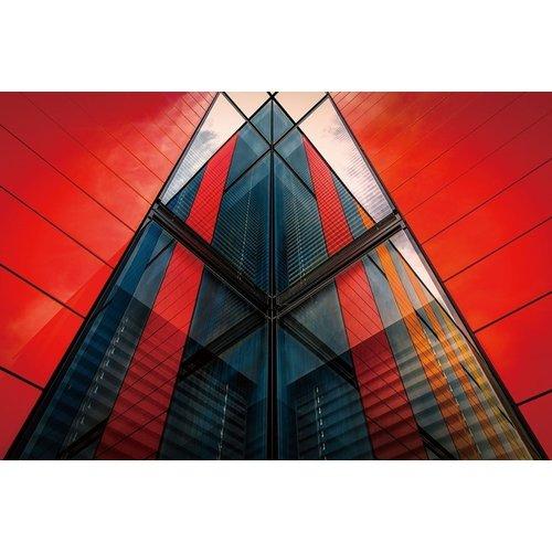 Ter Halle Glasschilderij 80 x120 cm Rood gebouw