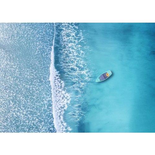 Ter Halle Glasschilderij 80 x 120 cm  Bootje op zee