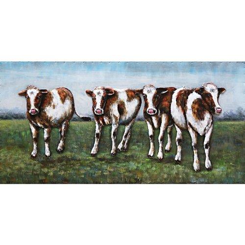 Eliassen Schilderij metaal 3d  60x120cm   4 Koeien