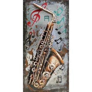 Eliassen Schilderij 3d ijzer 40x80cm Saxofoon