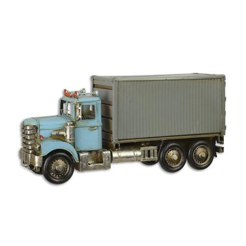 Eliassen Miniatuurmodel blik Containertruck blauw