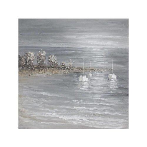 Canvas schilderij 100x100cm 3 zeilboten