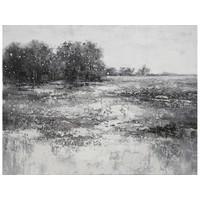 Canvas schilderij 120 x 90 cm Mistig meerzicht