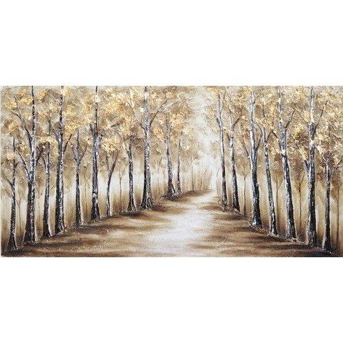 Canvas schilderij 60 x 120 cm Dreef met bomen