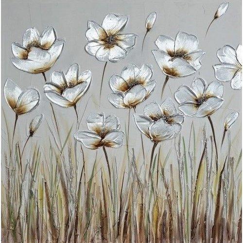 Canvas schilderij 80 x 80 cm Bloemenveld