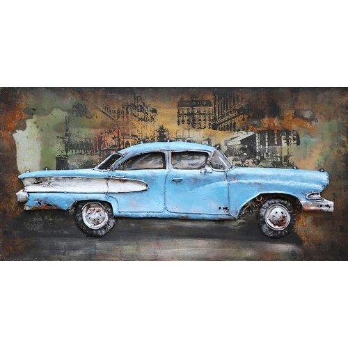 Eliassen Schilderij ijzer 3d American car 70x140cm