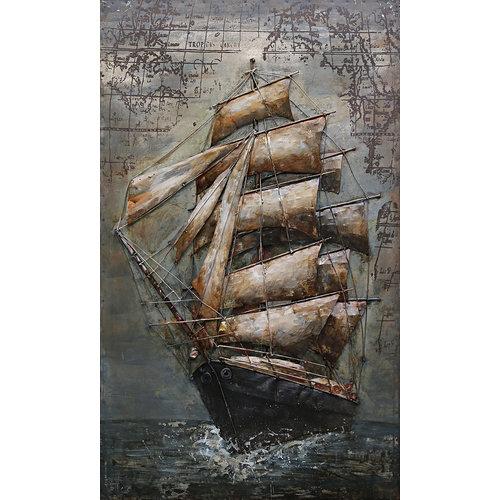 3D schilderij Tall ship 60x100cm