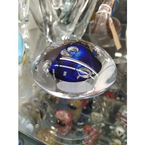 Kristalglazen presse-papier Steen blauw