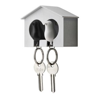 Qualy Duo sparrow keyring wit/zwart