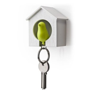 Qualy sparrow keyring groen/wit