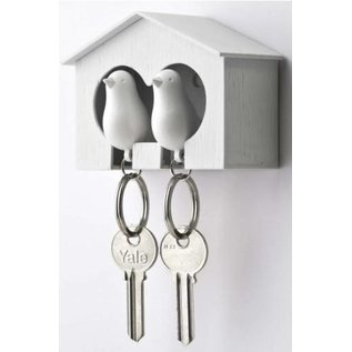 Qualy Duo sparrow keyring wit/wit