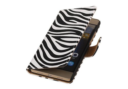 Zebra Bookstyle Hoes voor Huawei P10 Lite Wit