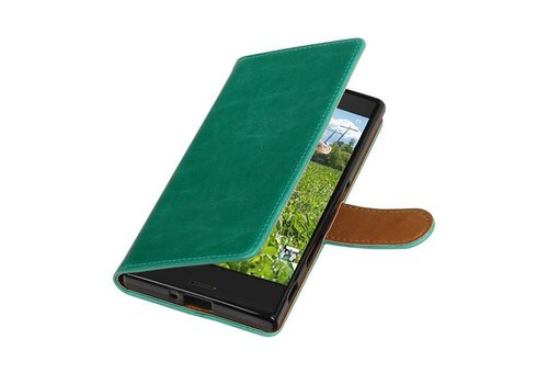 Sony Pull Up TPU PU Leder Bookstyle voor Xperia XZ Groen