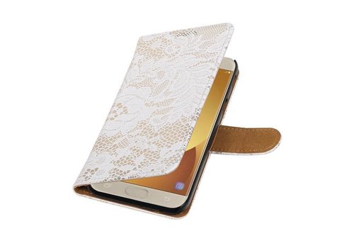 Lace Bookstyle Hoes voor Galaxy J5 (2017) J530F Wit