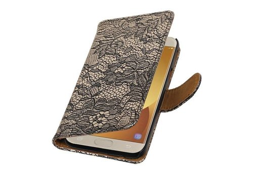 Lace Bookstyle Hoes voor Galaxy J5 (2017) J530F Zwart