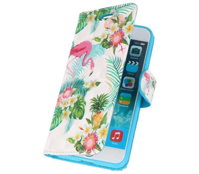 Bookstyle Hoesje voor iPhone 7 / 8 3D Print Flamingo