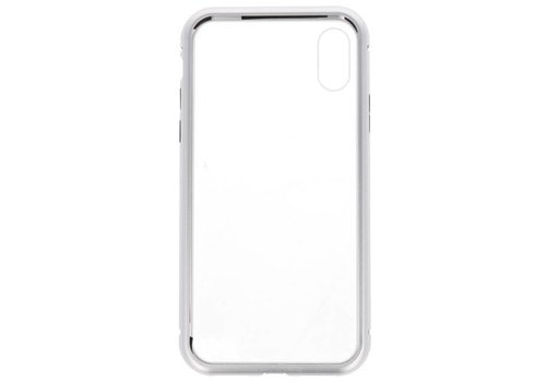Magnetic Back Cover voor iPhone X Zilver - Transparant