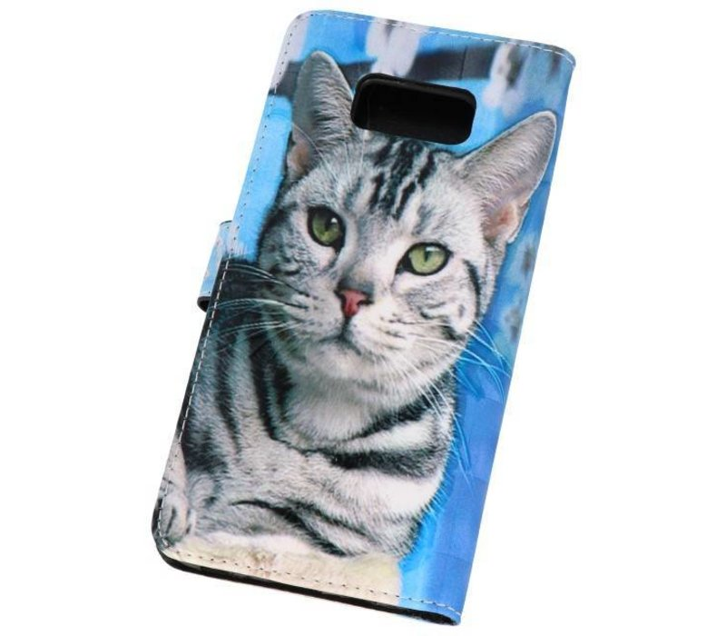 Bookstyle Hoesje voor Galaxy S8 Plus 3D Print Cat