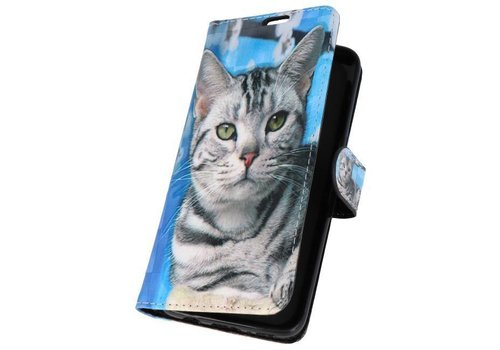 Bookstyle Hoesje voor Galaxy S8 3D Print Cat
