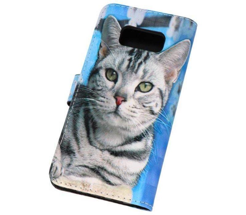 Bookstyle Hoesje voor Galaxy S8 3D Print Cat