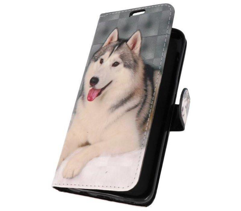 Bookstyle Hoesje voor Galaxy S8 3D Print Hondje