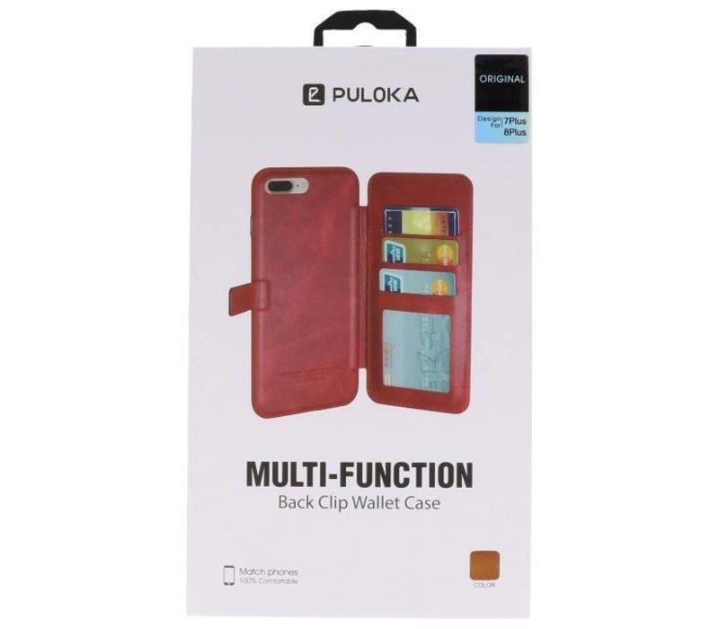 Back Cover Book Design Hoesje voor iPhone 8 Plus Mocca
