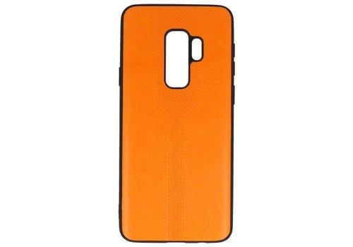 Lederlook Hard Case voor Samsung Galaxy S9 Plus Oranje