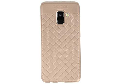 Geweven TPU Siliconen Case voor Galaxy A8 2018 Goud
