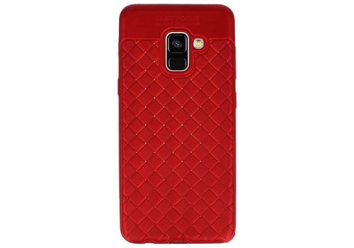 Geweven TPU Siliconen Case voor Galaxy A8 2018 Rood