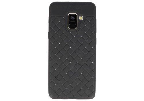 Geweven TPU Siliconen Case voor Galaxy A8 2018 Zwart