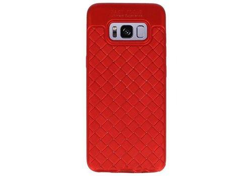 Geweven TPU Siliconen Case voor Galaxy S8 Rood