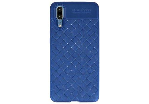 Geweven TPU Siliconen Case voor Huawei P20 Blauw