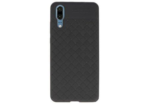 Geweven TPU Siliconen Case voor Huawei P20 Zwart