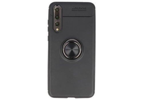 Softcase voor Huawei P20 Pro Hoesje met Ring Houder Zwart
