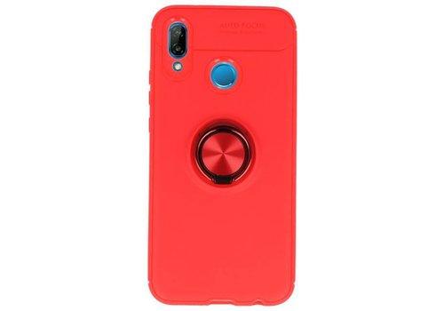 Softcase voor Huawei P20 Lite Hoesje met Ring Houder Rood